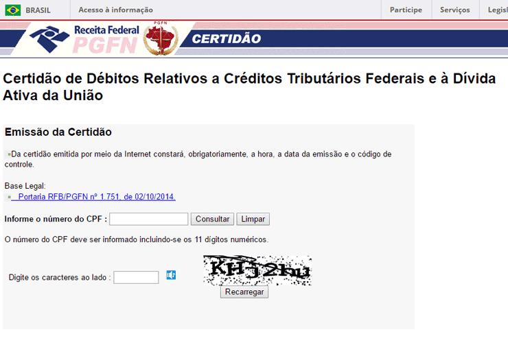Emissão CND INSS por CPF