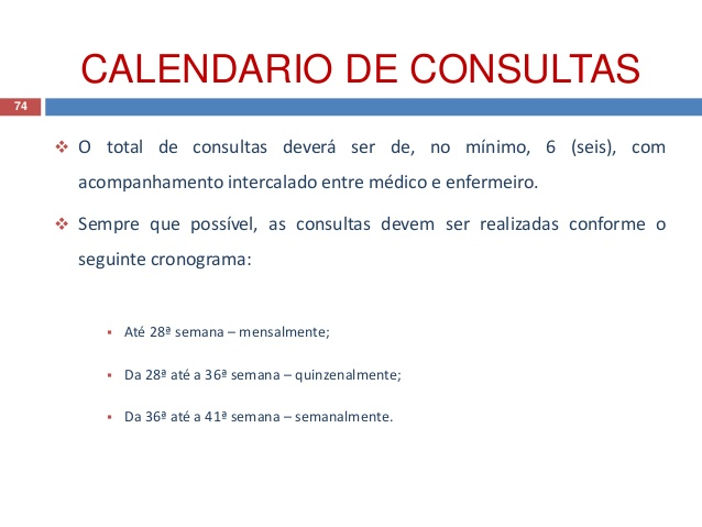 Calendário de consultas do SUS